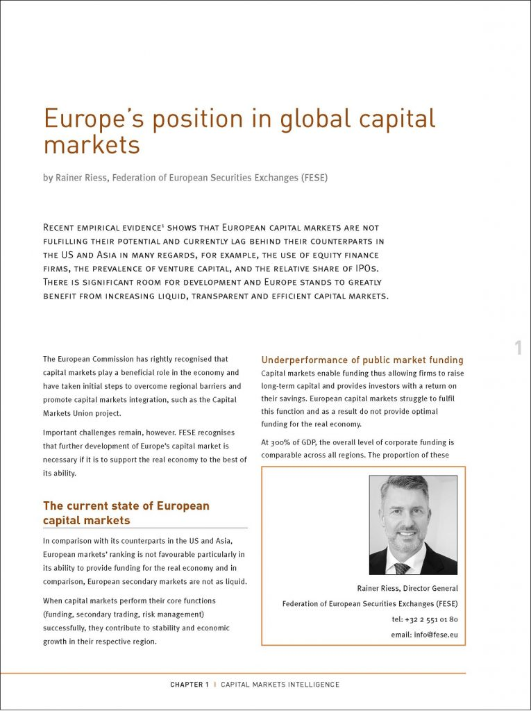 Europe's position in global capital markets
