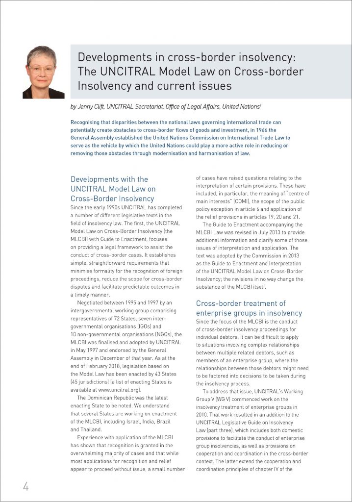 Developments in cross-border insolvency: The UNCITRAL Model Law on Cross-border Insolvency and current issues