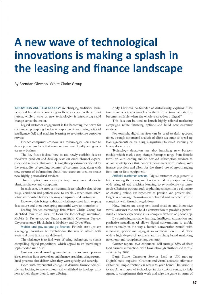 A new wave of technological innovations is making a splash in the leasing and finance landscape