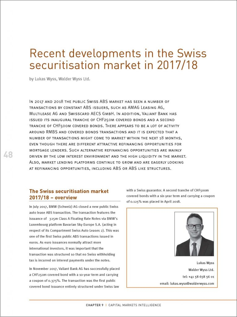 Recent developments in the Swiss securitisation market in 2017/18