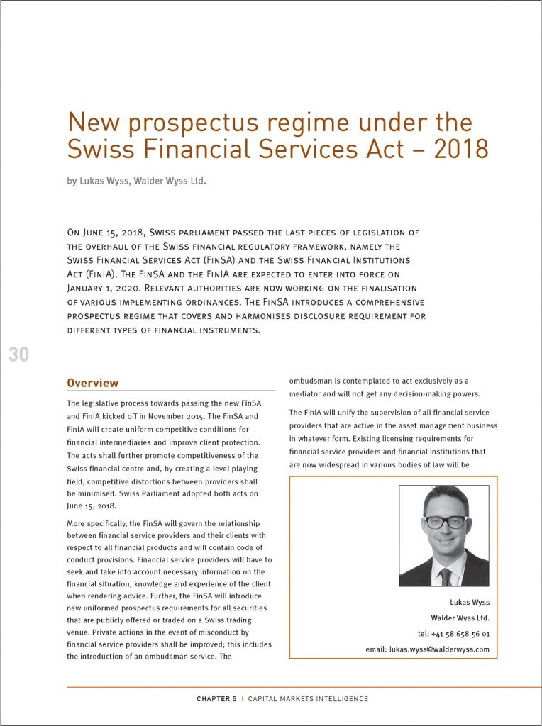 New prospectus regime under the Swiss Financial Services Act – 2018