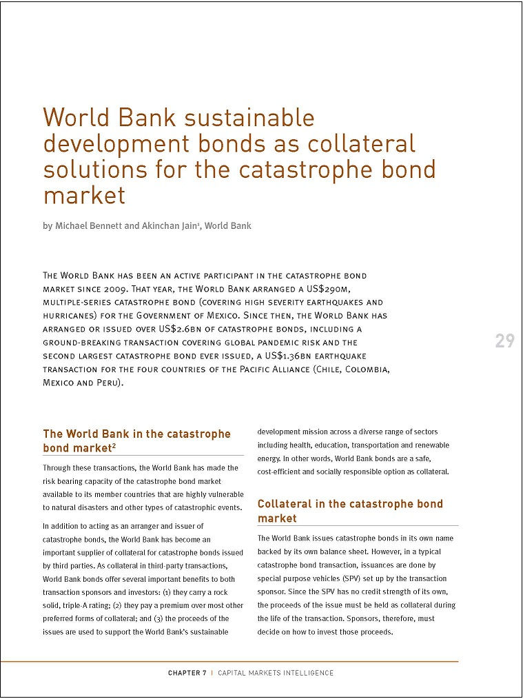 World Bank sustainable development bonds as collateral solutions for the catastrophe bond market