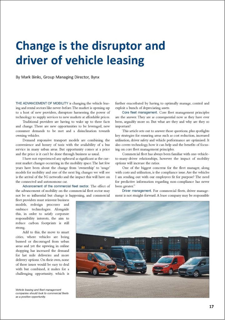 Change is the disruptor and driver of vehicle leasing