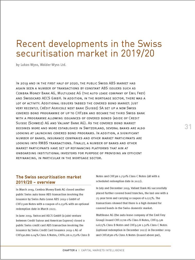 Recent developments in the Swiss securitisation market in 2019/20